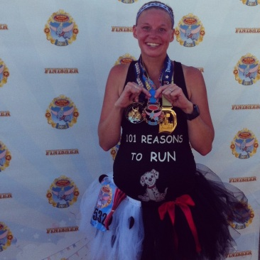 This is from the Disneyland Half Marathon weekend. I ran both the 10k on Saturday and the half marathon on Sunday at 22 weeks pregnant with my 4th! ~Emily J.