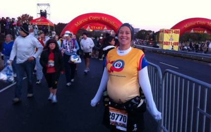 I ran the Marine Corps Marathon in 2011 at about 6.5 months pregnant. My longest marathon to date but my sister stayed with me and got me through it. ~Rachael N.