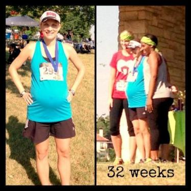 10K race at 32 weeks pregnant. 48:59, 1st in AG, 4th female overall. ~Tiffany from TX, AnotherTexasFamily.com