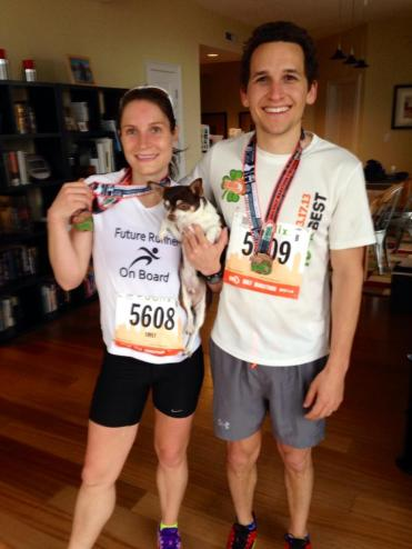 With her husband after a half marathon at 16 weeks pregnant