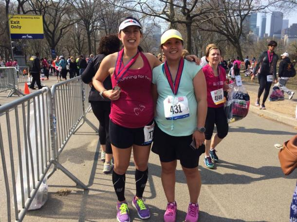 More Magazine  Fitness Magazine Women's Half Marathon, 25 weeks, with pregnant friend Karen Lee who was 30 weeks pregnant post-race